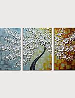 Недорогие -Hang-роспись маслом Ручная роспись - Цветочные мотивы / ботанический Modern Включите внутренний каркас / 3 панели