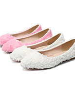 cheap -Women's Wedding Shoes Flat Heel Pointed Toe Vintage Sexy Minimalism Wedding Party & Evening PU Satin Flower Lace Flower Solid Colored White Red Pink