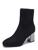 Недорогие -Жен. Ботинки На толстом каблуке Квадратный носок Микроволокно Ботинки Лето Черный / Бежевый