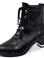Недорогие -Жен. Ботинки На плоской подошве Круглый носок Полиуретан Ботинки Наступила зима Черный