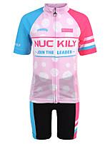 Недорогие -Nuckily Девочки С короткими рукавами Велокофты и велошорты - Детские Розовый Горошек Велоспорт Наборы одежды Дышащий Влагоотводящие Быстровысыхающий Анатомический дизайн Виды спорта Спандекс Горошек