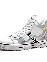 Недорогие -Муж. Комфортная обувь Микроволокно Наступила зима Английский Кеды Нескользкий Лозунг Черный / Белое / серебро / Белый