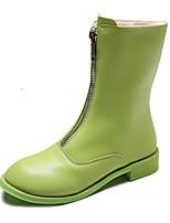 Недорогие -Жен. Ботинки На низком каблуке Круглый носок Полиуретан Наступила зима Черный / Зеленый / Оранжевый