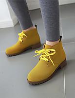 Недорогие -Жен. Ботинки Блочная пятка Круглый носок Синтетика Ботинки На каждый день / Минимализм Зима Черный / Зеленый / Миндальный