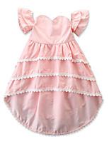 Недорогие -Дети Девочки Однотонный Ассиметричное Платье Белый