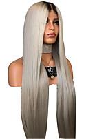 Недорогие -Парики из искусственных волос Естественный прямой Стиль Стрижка каскад Без шапочки-основы Парик Темно-серый Серый Искусственные волосы 75~78 дюймовый Жен. Новое поступление Темно-серый Парик