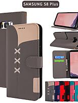 Недорогие -Кейс для Назначение SSamsung Galaxy S9 / S9 Plus / A6 (2018) Кошелек / Бумажник для карт / со стендом Чехол Однотонный Кожа PU