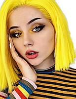 Недорогие -Синтетические кружевные передние парики Прямой Стиль Средняя часть Лента спереди Парик Золотистый Желтый Искусственные волосы 8-10 дюймовый Жен. Регулируется Жаропрочная Для вечеринок Золотистый Парик