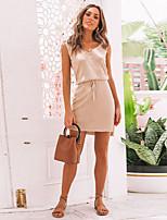 Недорогие -Жен. Классический Элегантный стиль Оболочка Платье - Однотонный Выше колена
