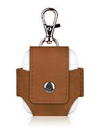 Недорогие -PU кожаный защитный чехол с металлическим карабином для наушников airpods