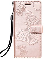 cheap -Case For Samsung Galaxy Note 9 / Note 8 / Note 4 Wallet / Card Holder / Flip Full Body Cases Solid Colored / Butterfly PU Leather For Samsung Galaxy Note 3/Note 10/Note 10 Plus