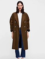 Недорогие -Жен. Повседневные Классический Длинная Пальто, Однотонный Лацкан с тупым углом Длинный рукав Полиэстер Коричневый