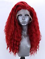 Недорогие -Синтетические кружевные передние парики Свободные волны Естественные волны Стиль Свободная часть Лента спереди Парик Красный Искусственные волосы 8-12 дюймовый Жен. Мягкость Эластичный Женский Красный