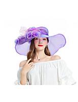Недорогие -Жен. Для вечеринки Симпатичные Стиль Панама Шляпа от солнца Акрил,Цветочный принт Лиловый