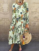 Недорогие -Жен. Классический Прямое Платье - Геометрический принт Средней длины