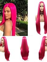 Недорогие -Синтетические кружевные передние парики Прямой Матовое стекло Kardashian Стиль Стрижка каскад Лента спереди Парик Розовый Темно-красный Искусственные волосы 24 дюймовый Жен.
