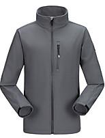 Недорогие -Муж. Повседневные Размер ЕС / США Обычная Куртка, Однотонный Воротник-стойка Длинный рукав Полиэстер Черный / Военно-зеленный / Серый