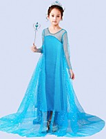cheap -Princess Elsa Dress Flower Girl Dress Girls' Movie Cosplay A-Line Slip Blue / White Dress Children's Day Masquerade Tulle Sequin Cotton