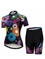 Недорогие -WEIMOSTAR Цветочные ботанический Жен. С короткими рукавами Велокофты и велошорты - Фиолетовый Велоспорт Наборы одежды Дышащий Влагоотводящие Быстровысыхающий Виды спорта Эластан Терилен