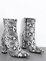 Недорогие -Жен. Ботинки На толстом каблуке Заостренный носок Полиуретан Сапоги до середины икры Наступила зима Черный / Бежевый
