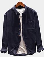 Недорогие -Муж. Повседневные Обычная Джинсовая куртка, Однотонный Рубашечный воротник Длинный рукав Полиэстер Черный / Синий / Серый
