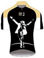 Недорогие -21Grams Майкл Джексон Муж. С короткими рукавами Велокофты - Черный / Белый Велоспорт Джерси Верхняя часть Дышащий Быстровысыхающий Со светоотражающими полосками Виды спорта 100% полиэстер / троеборье
