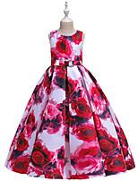 Недорогие -Дети Девочки Активный Милая Цветочный принт С принтом Без рукавов Макси Платье Розовый
