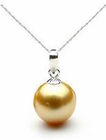 Недорогие -Высокое качество серебра 925 пробы ожерелье и кулон классический круглый жемчужный кулон мода свадебные украшения невесты подходит для женщин-энтузиастов жемчужный размер 10 мм