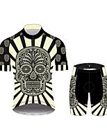 Недорогие -21Grams Сахарный череп Муж. С короткими рукавами Велокофты и велошорты - Черный / Белый Велоспорт Наборы одежды Дышащий Влагоотводящие Быстровысыхающий Виды спорта 100% полиэстер Горные велосипеды