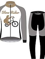 Недорогие -21Grams Животное леность Муж. Длинный рукав Велокофты и лосины - Серый+Белый Велоспорт Наборы одежды Устойчивость к УФ Дышащий Влагоотводящие Виды спорта 100% полиэстер Горные велосипеды Одежда