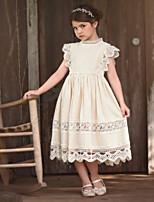 Недорогие -Дети Девочки Однотонный С принтом С короткими рукавами Выше колена Платье Белый