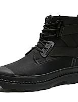 Недорогие -Муж. Кожаные ботинки Кожа Зима / Наступила зима На каждый день / Английский Ботинки Для пешеходного туризма / Для прогулок Нескользкий Ботинки Черный / на открытом воздухе / Офис и карьера