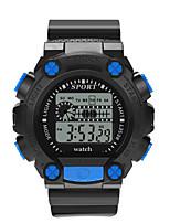 Недорогие -Мальчики электронные часы Цифровой Спортивные Стильные Кожа Черный 30 m Защита от влаги Фосфоресцирующий Повседневные часы Цифровой На каждый день Мода - Черный Зеленый Желтый / Один год
