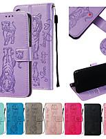 Недорогие -Кейс для Назначение Xiaomi Xiaomi Redmi Note 7 Кошелек / Бумажник для карт / со стендом Чехол Животное Кожа PU