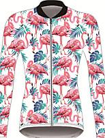 Недорогие -21Grams Фламинго Цветочные ботанический Жен. Длинный рукав Велокофты - Красный / Белый Велоспорт Джерси Верхняя часть Устойчивость к УФ Дышащий Влагоотводящие Виды спорта Зима 100% полиэстер