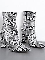 Недорогие -Жен. Ботинки На толстом каблуке Заостренный носок Овчина Ботинки Лето Черный