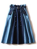 Недорогие -Жен. Классический А-силуэт Подол Контрастных цветов Синий M L