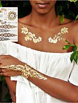 Недорогие -3 шт. Новый индийский арабский дизайн золотой серебряный флэш племенной татуировки хной вставьте metalicos металлические наклейки наклейка татуировки на теле руки