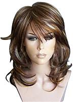 Недорогие -Парики из искусственных волос Естественные кудри Стиль Стрижка каскад Без шапочки-основы Парик Темно-серый Льняной Искусственные волосы 52~56 дюймовый Жен. Новое поступление Темно-серый Парик