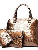 cheap -Women's Zipper PU Bag Set Solid Color 3 Pcs Purse Set Black / Purple / Gold