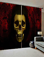 Недорогие -творческие плотные пользовательские шторы без перфорации черепа и скрещенных костей 3D цифровая печать для гостиной / студии тканевые шторы