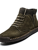 Недорогие -Муж. Fashion Boots Свиная кожа Наступила зима Классика / На каждый день Ботинки Для прогулок Сохраняет тепло Ботинки Черный / Военно-зеленный / Вино