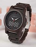 Недорогие -Муж. Нарядные часы Японский Японский кварц Стильные Дерево Коричневый 30 m Фосфоресцирующий Повседневные часы деревянный Аналого-цифровые Мода - Черный Два года Срок службы батареи