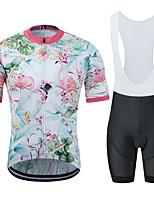 Недорогие -MUBODO Фламинго Цветочные ботанический Муж. С короткими рукавами Велокофты и велошорты-комбинезоны - Черный / Белый Велоспорт Наборы одежды Дышащий Влагоотводящие Быстровысыхающий Виды спорта Тюль