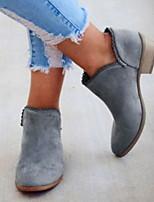 Недорогие -Жен. Ботинки На низком каблуке Круглый носок Полиуретан Ботинки Лето Черный / Зеленый / Светло-синий