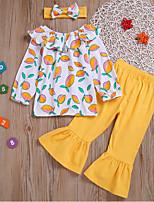 Недорогие -Дети (1-4 лет) Девочки Активный Повседневные Геометрический принт С принтом Длинный рукав Обычный Набор одежды Желтый