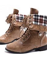 Недорогие -Жен. Ботинки На толстом каблуке Круглый носок Полиуретан Сапоги до середины икры Лето Черный / Коричневый