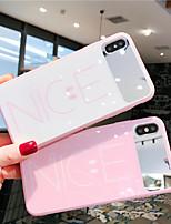 Недорогие -Кейс для Назначение Apple iPhone XS / iPhone XR / iPhone XS Max Зеркальная поверхность / Ультратонкий / С узором Кейс на заднюю панель Слова / выражения / Мультипликация Закаленное стекло