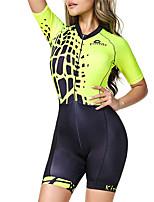Недорогие -BOESTALK Жен. С короткими рукавами Костюм для триатлона Зеленый / черный В полоску Велоспорт Дышащий Влагоотводящие Быстровысыхающий Анатомический дизайн Задний карман Виды спорта Спандекс В полоску