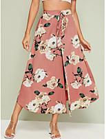 Недорогие -Жен. Классический / Уличный стиль А-силуэт Подол Цветочный принт Розовый M L XL / Тонкие